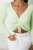 NALA LONG SLEEVE CROP TOP - Light Neon Green