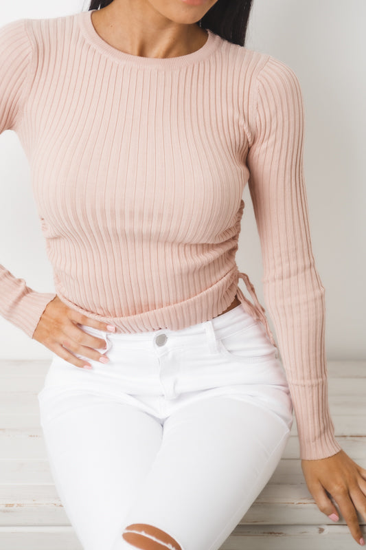 KATE LONG SLEEVE KNIT TOP - Blush