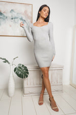TATI LONG SLEEVE KNIT DRESS - Grey