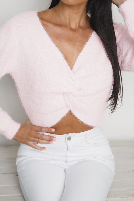 STEPHANIE LONG SLEEVE KNIT TOP - Light Pink