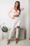 TRICIA LONG SLEEVE CROP TOP - Pink