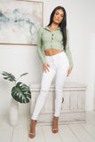 KATIE LONG SLEEVE KNIT CROP TOP - Green