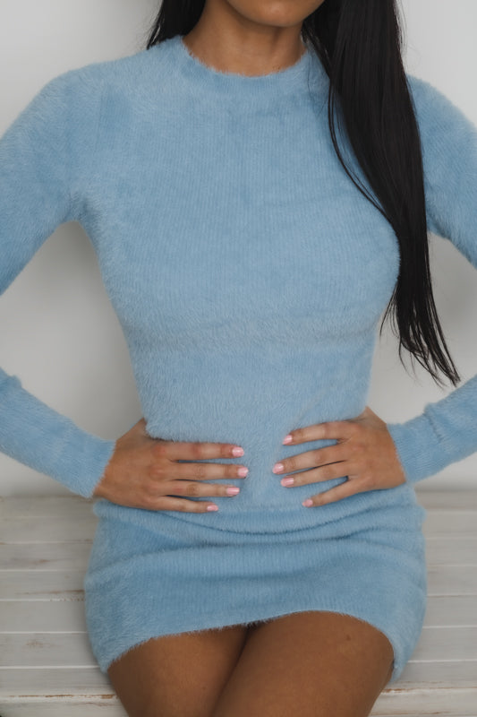 NADIA LONG SLEEVE MINI DRESS - Blue