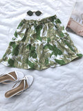 SUN COMES UP SKIRT - White Green Print - Dolly Girl Fashion