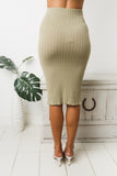 POPPY MIDI SKIRT - Khaki