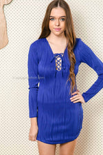 HEART RACING LONG SLEEVE DRESS - Blue