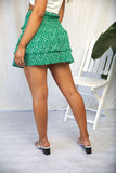 WALLIS SHIRRED MINI SKIRT - Green Print