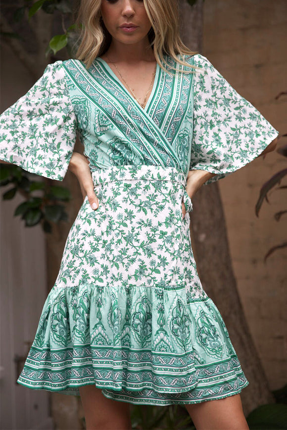LIGHTHOUSE WRAP DRESS - White Green Print