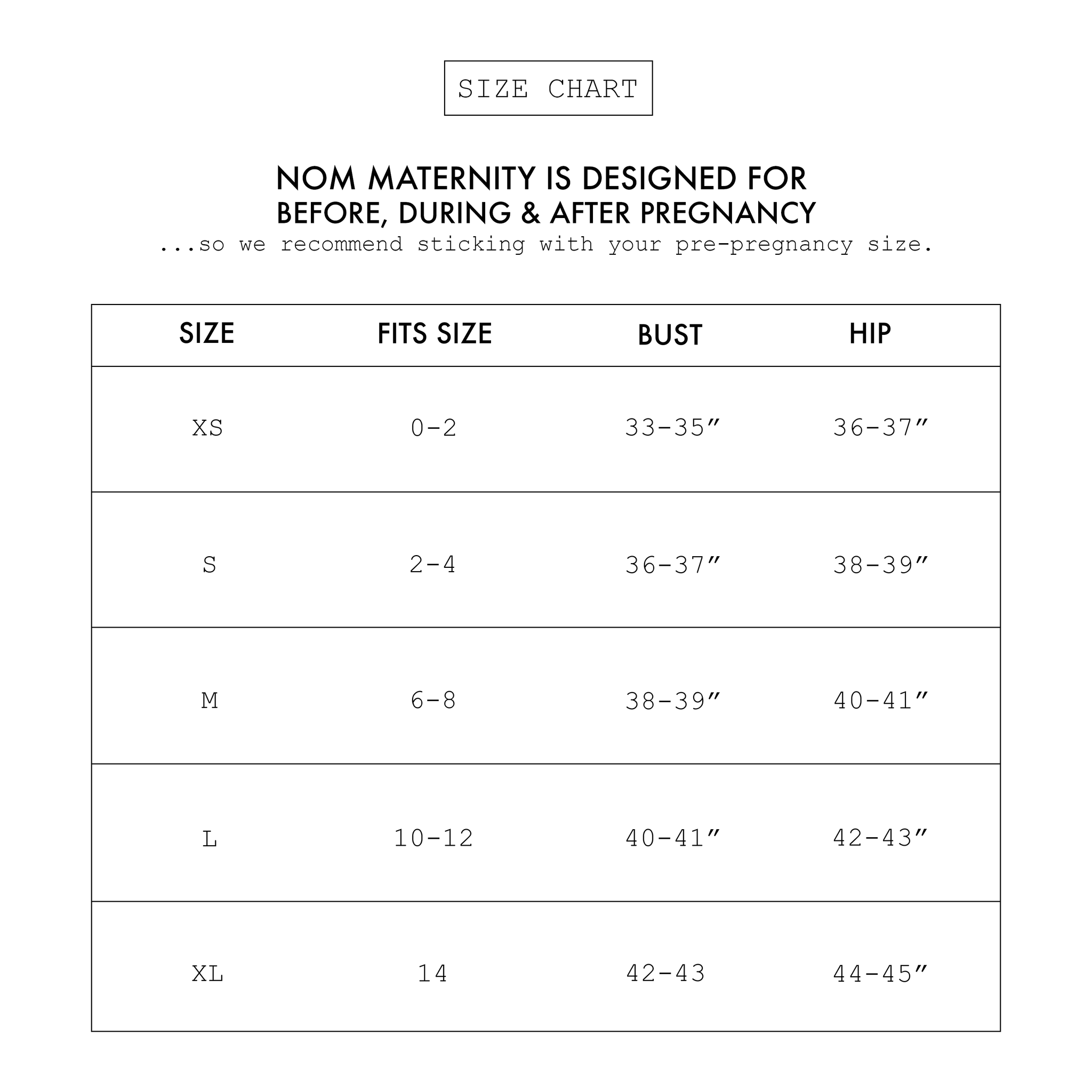 Nom Maternity Clothing Brand Size Guide
