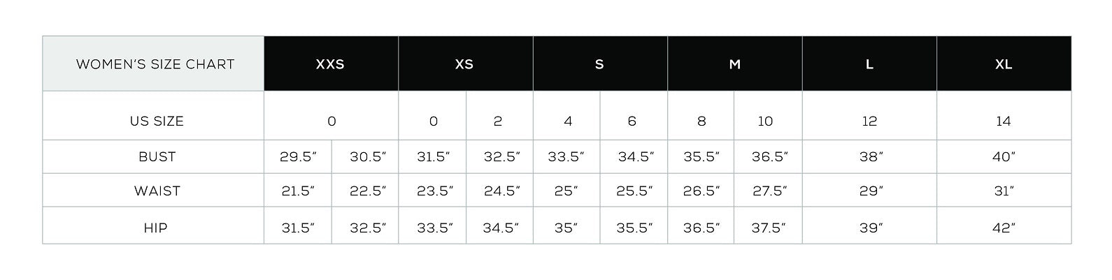 Rails Clothing Brand Size Guide