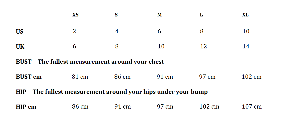 Seraphine Maternity Clothing Brand Size Guide