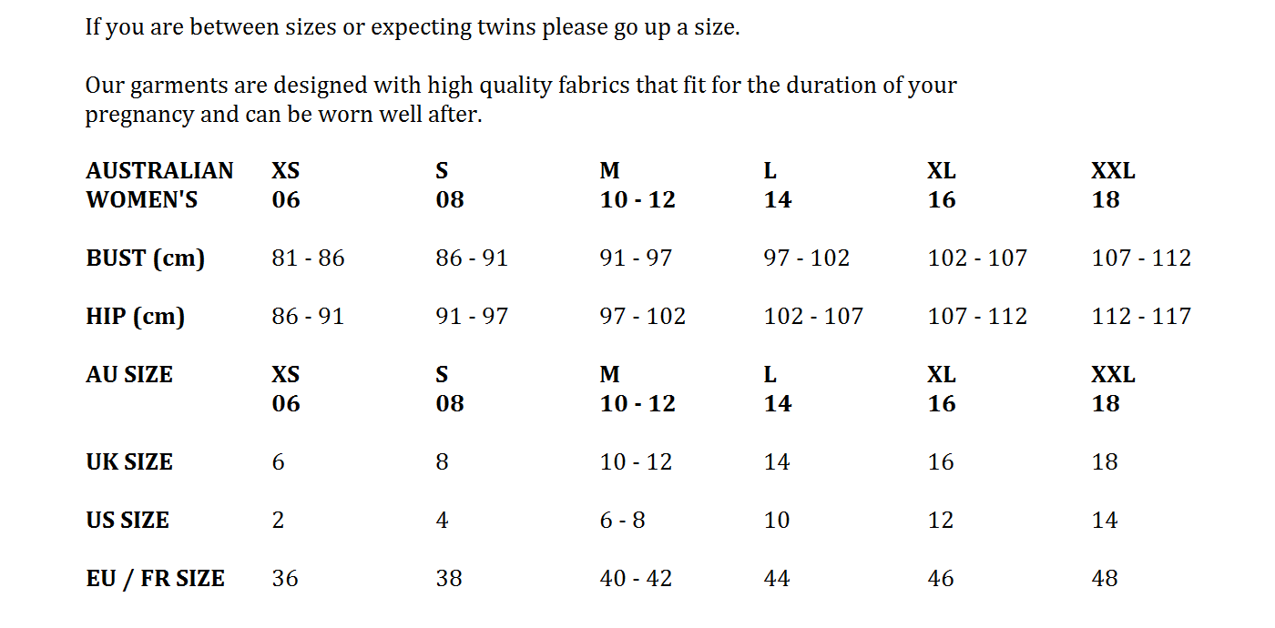 Soon Maternity Clothing Brand Size Guide