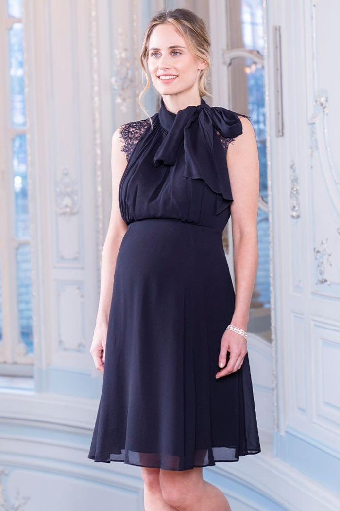 Galina Navy Lace Maternity & Nursing Cocktail Dress | Seraphine | Carry Maternity | Toronto Canada