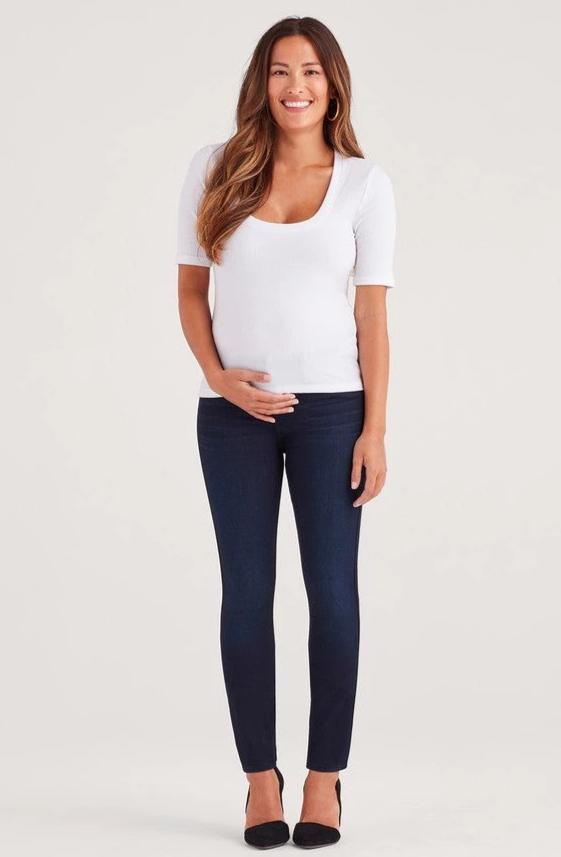Maternity b(air) Denim High Waist Skinny in Blue Black River Thames