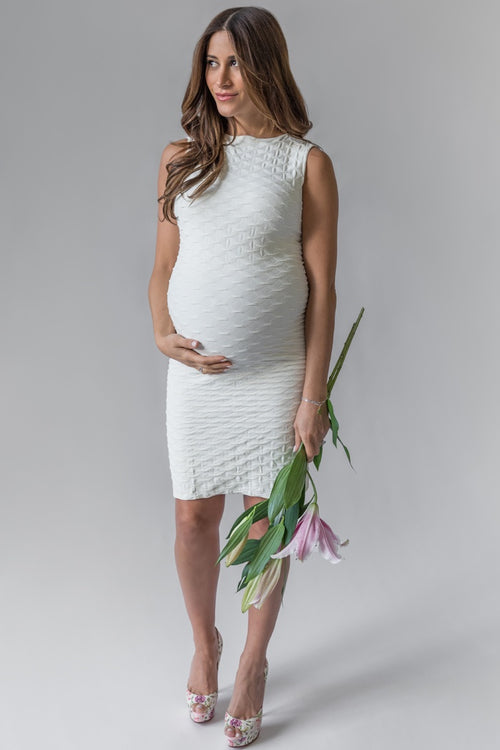 Cream Fitted Lattice Textured Forever Dress | Tees By Tina | Carry Maternity | Toronto Canada