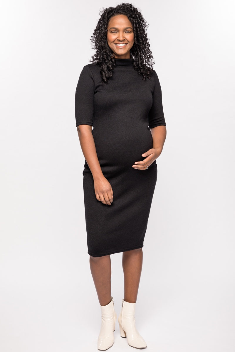 Harper Black Knit Funnel Neck Maternity Sweater Dress | CARRY | Carry Maternity | Toronto Canada