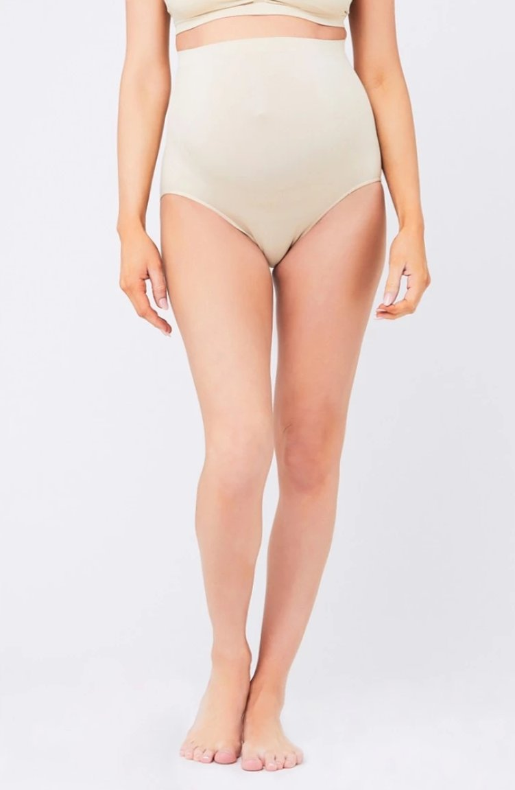 Seamless Beige Over the Bump Underwear