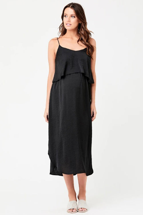 Black Maternity & Nursing Slip Dress
