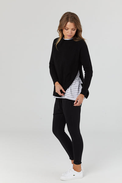 Bateau Black Maternity & Nursing Crew Knit Sweater | Legoe Heritage | Carry Maternity | Toronto Canada