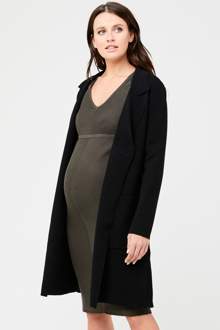 Black Longline Maternity Coatigan | Ripe Maternity | Carry Maternity | Toronto Canada