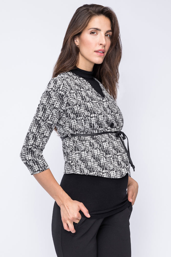 Charlotte Jacquard Cropped Maternity Jacket | Carry | Carry Maternity | Toronto Canada