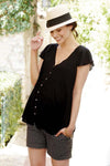 Claudia Black Flutter Sleeve Maternity & Nursing Blouse | Seraphine | Carry Maternity | Toronto Canada