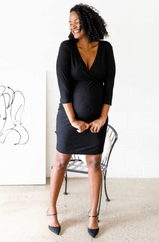 Cybele Black Ribbed Maternity & Nursing Dress | CARRY | Carry Maternity | Toronto Canada
