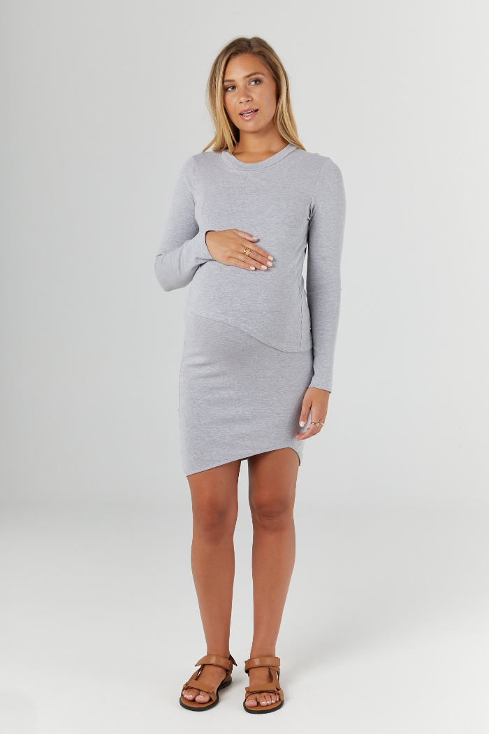 Forever Grey Marle Maternity & Nursing Dress | Legoe Heritage | Carry Maternity | Toronto Canada