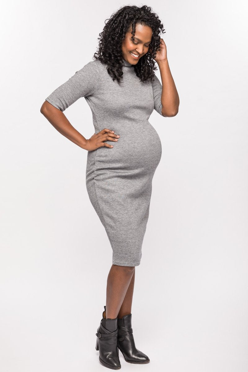 Harper Grey Knit Funnel Neck Maternity Sweater Dress | CARRY | Carry Maternity | Toronto Canada