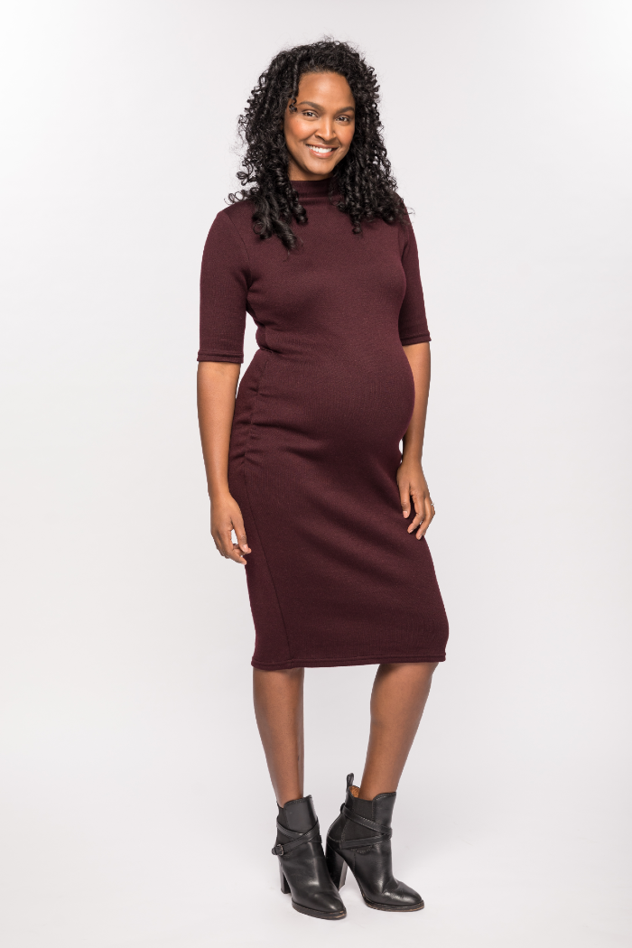 Harper Merlot Knit Funnel Neck Maternity Sweater Dress | CARRY | Carry Maternity | Toronto Canada