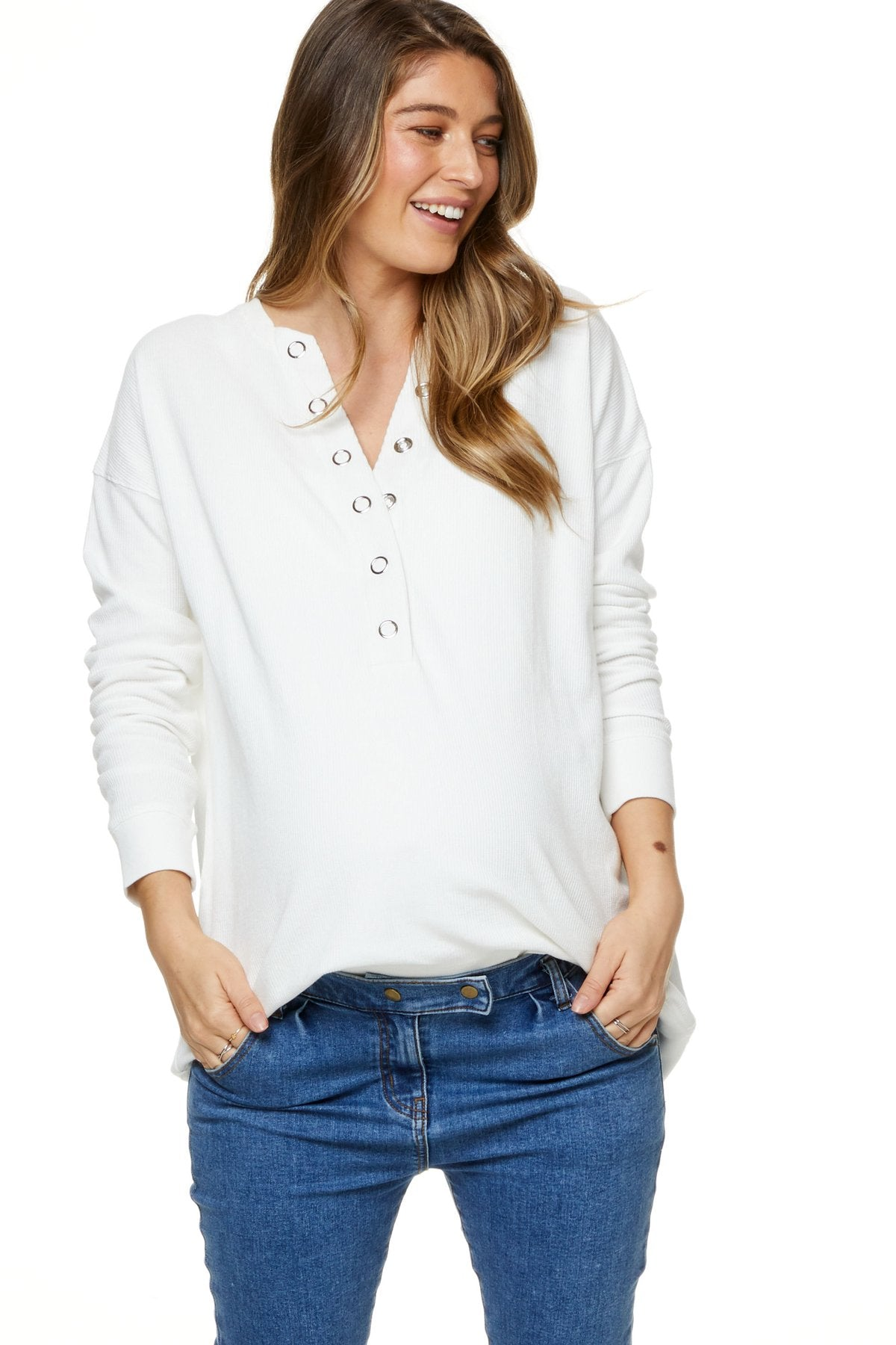 I'm Yours Ivory Maternity & Nursing Waffle Henley Top | Bae The Label | Carry Maternity | Toronto Canada
