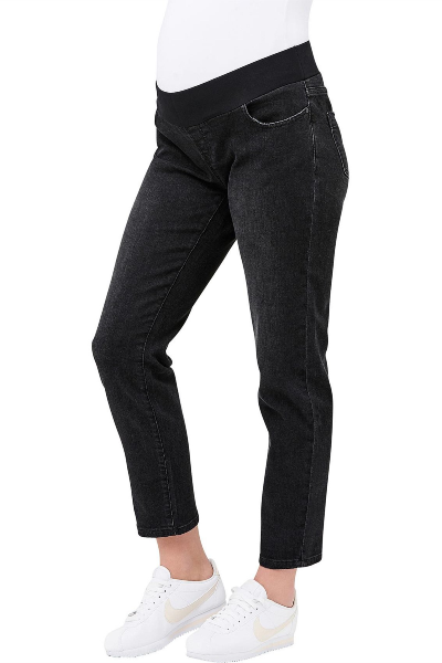 Jamie Girlfriend Black Raw Edge Maternity Jean | Ripe Maternity | Carry Maternity | Toronto Canada