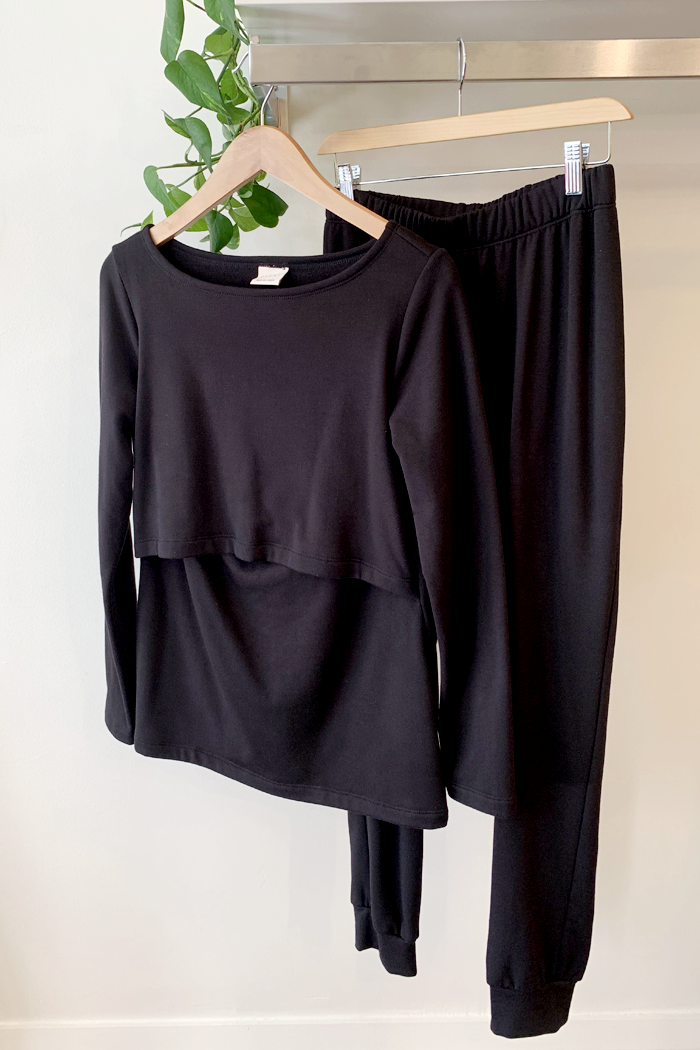 Sadie Soft Black Fleece Maternity & Nursing Sweater | Carry Maternity | Toronto Canada