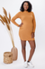 Kavya Caramel Ribbed Mock Neck Maternity Dress | CARRY | Carry Maternity | Toronto Canada