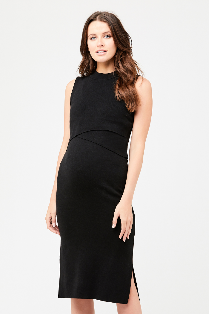 Layered Black Knit Maternity & Nursing Dress | Ripe Maternity | Carry Maternity | Toronto Canada