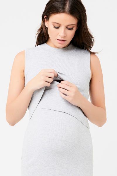 Layered Grey Knit Maternity & Nursing Dress | Ripe Maternity | Carry Maternity | Toronto Canada