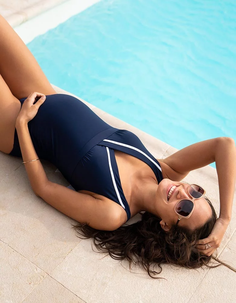 Maldives Nautical One Piece Maternity & Nursing Swimsuit  | Seraphine | Carry Maternity | Toronto Canada