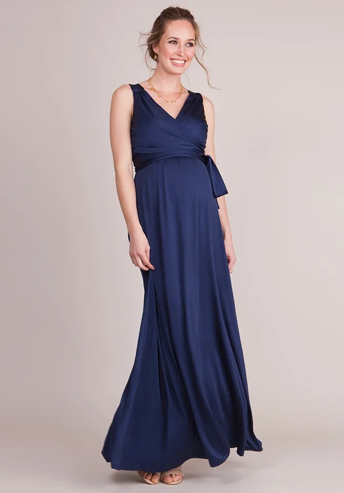 Malia Navy Maternity & Nursing Evening Dress | Seraphine | Carry Maternity | Toronto Canada