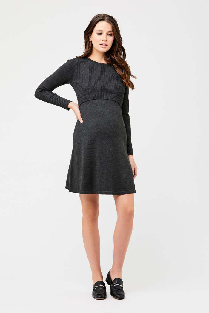 Molly Charcoal Knit Maternity & Nursing Dress | Ripe Maternity | Carry Maternity | Toronto Canada