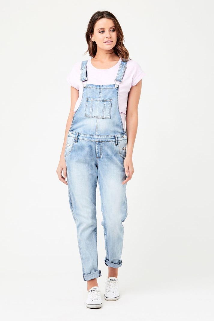 Pale Blue Denim Maternity & Beyond Overalls | Ripe Maternity | Carry Maternity | Toronto Canada