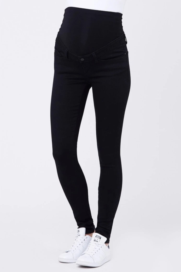 Rebel Black Full Length Paneled Maternity Jegging