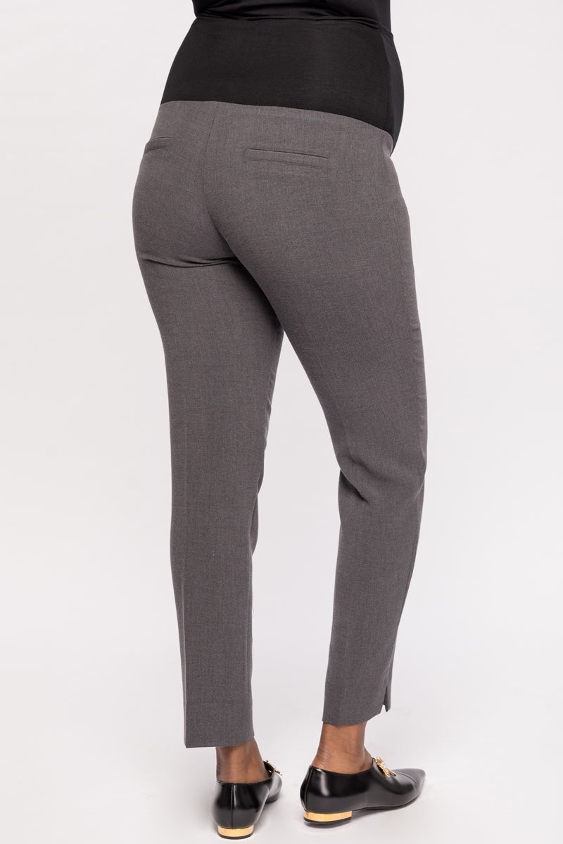 Connor Dark Grey Slim Fit Ankle Maternity Trousers | Carry | Carry Maternity | Toronto Canada