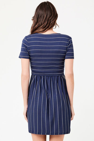 Stripe Crop Top Maternity & Nursing Dress