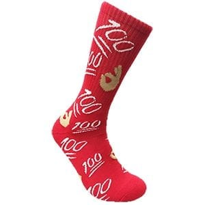 MOXY Socks Red and White KEEP IT 100! Novelty Dress Crew Socks