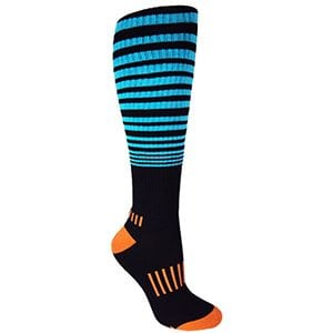 "Black with Cyan/Orange Knee-High Premium ""The Force"" Fitness Deadlift Socks"