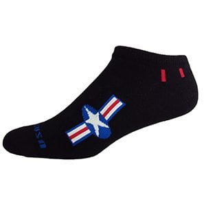 MOXY Socks Black with Red, White, and Blue American Star No-Show Fitness 3-Pack