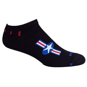MOXY Socks Black with Red, White, and Blue American Star No-Show Fitness Socks