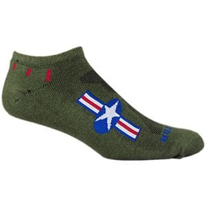 MOXY Socks Army Green with Red, White, and Blue American Star No-Show Fitness Socks