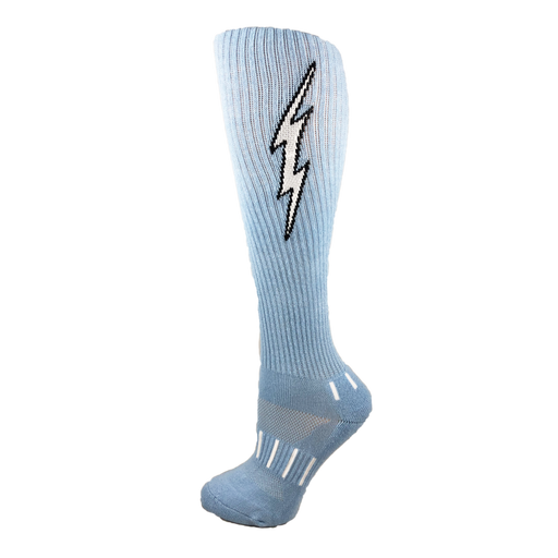 MOXY Socks Light Blue with Black Knee-High Insane Bolt Soccer Socks