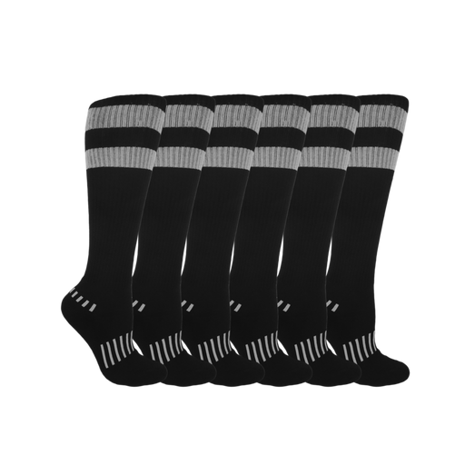 Black with Gray 70's Stripes 6-Pack
